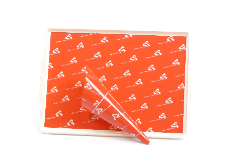 SAN foil on orange airline tray